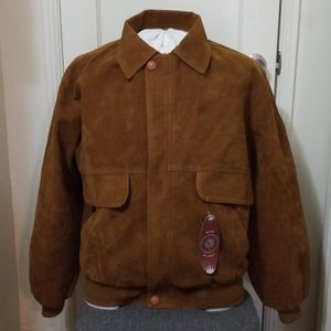 GV HAND MADE IN ITALY tan faux suede bomber jacket